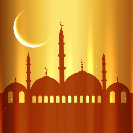 ramzaan: stylish golden eid festival design Illustration