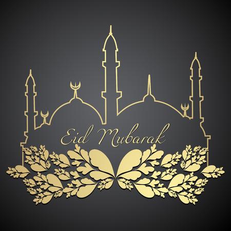 mubarak: stylish eid mubarak design illustration