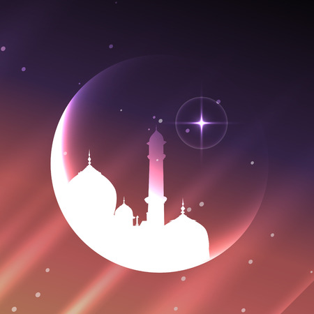 shiny muslim mosque with moon design