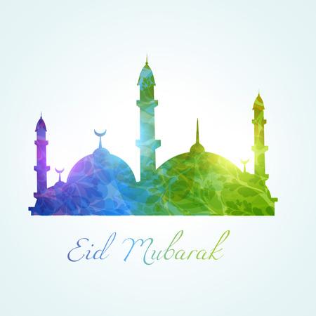 mubarak: colorful muslim mosque design background Illustration
