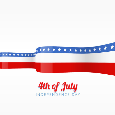 beautiful vector flag ribbon of american independence day