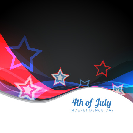 wave style vector 4th of july background Vector