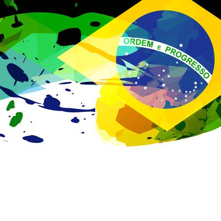 brazil flag abstract background design Illustration