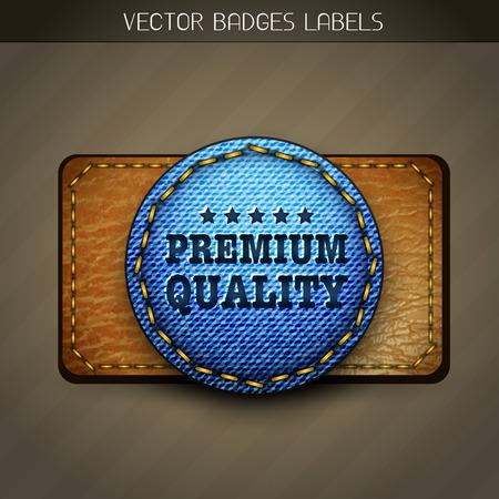 genuine leather: jeans premium label design Illustration