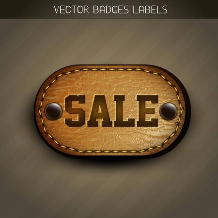 leather label: sale leather label design Illustration