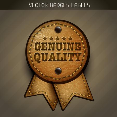leather genuine label illustration Vector