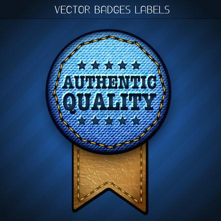 authentic quality label design Vector