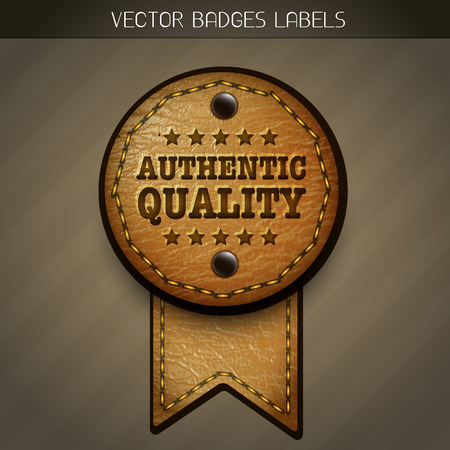 leather authentic quality label Vector