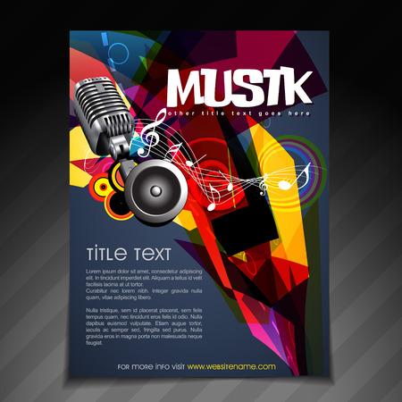 vector music party brochure flyer template design Vector