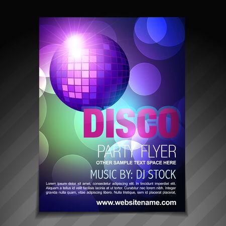 vector disco party flyer brochure and poster template design Vector