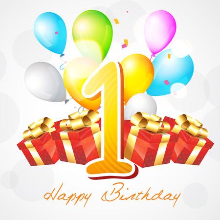 first birthday: vector illustration of first birthday