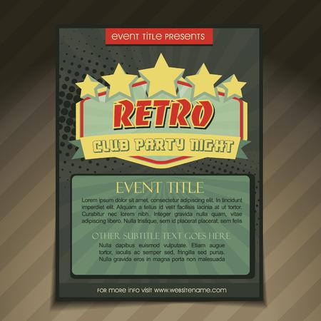 book club: vector club party brochure flyer template design Illustration