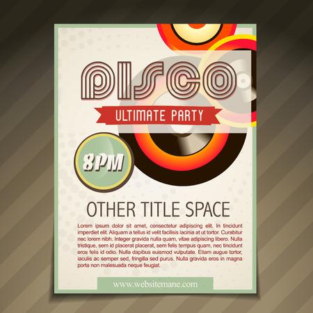 vector disco party brochure flyer poster template design Vector