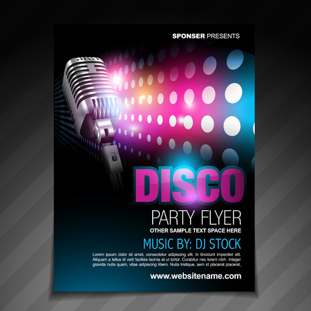 vector disco party flyer brochure design Vector