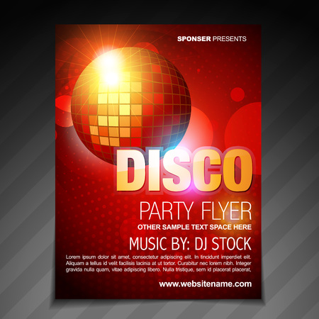 club dj: vector disco party flyer brochure poster template design