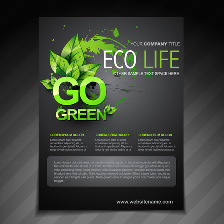 newsletter template: vector eco flyer brochure poster template and magazine cover