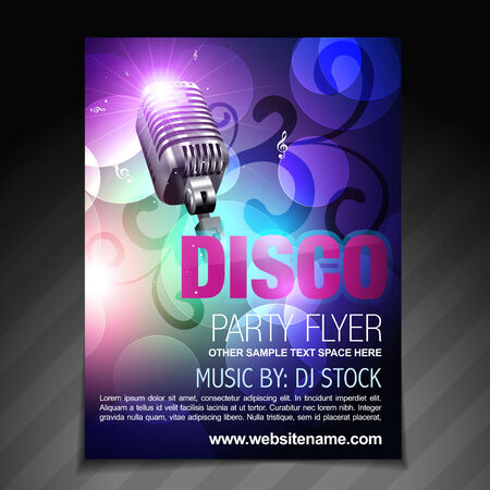vector disco party flyer brochure and poster template Vector