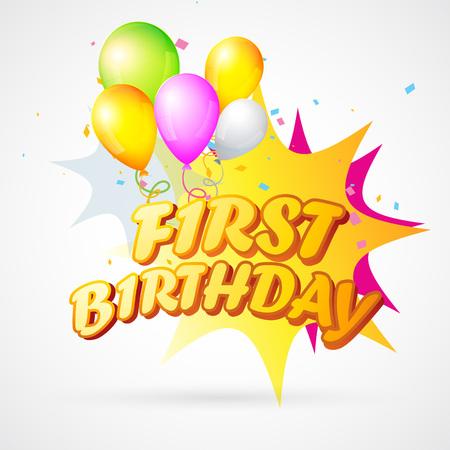 first birthday: vector illustration of first birthday blast  Illustration