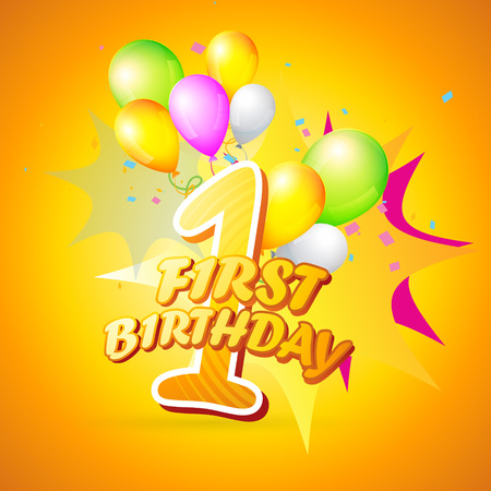vector background of first birthday Illustration