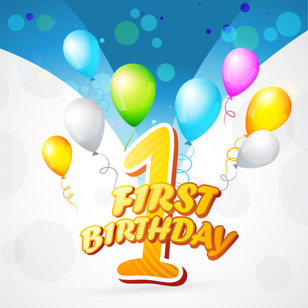 love blast: vector colorful background of first birthday
