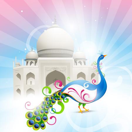 shah: beautiful taj mahal with artistic vector peacock