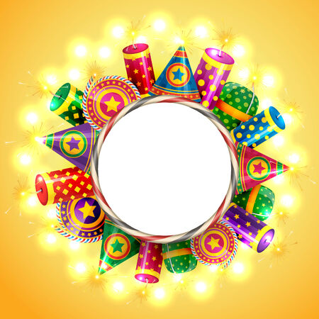 Vector attractive background of diwali with crackers Vector