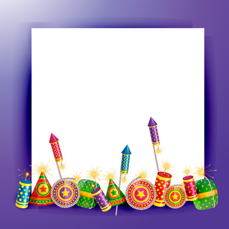 cracker: Vector diwali crackers background with space for your text