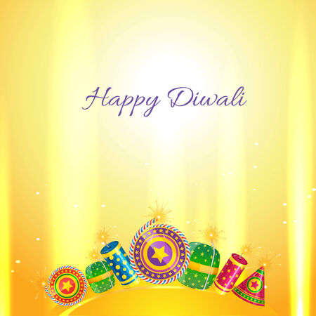 Vector diwali crackers card Vector