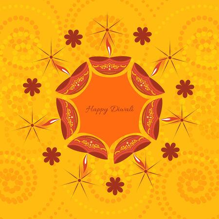 indian light: Vector artistic diwali background illustration Illustration