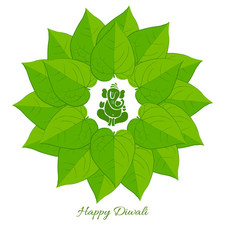 aum: Vector betel leaf with lord ganesh background