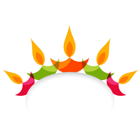 Vector stylish colorful diwali diya isolated on white background Vector