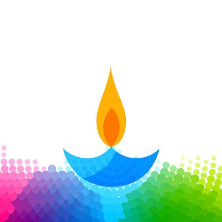 Vector creative colorful diwali diya isolated white background