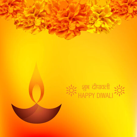 Vector diwali diya background decorative with flowers Vector