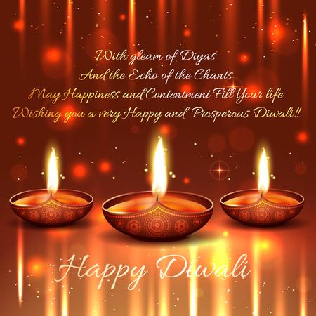 diwali greeting: Vector shiny background of diwali with diya