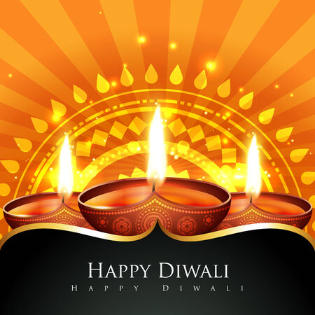 Vector beautiful background of diwali diya Vector