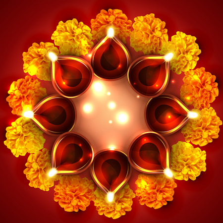 Vector background of diwali diya with flowers Vector