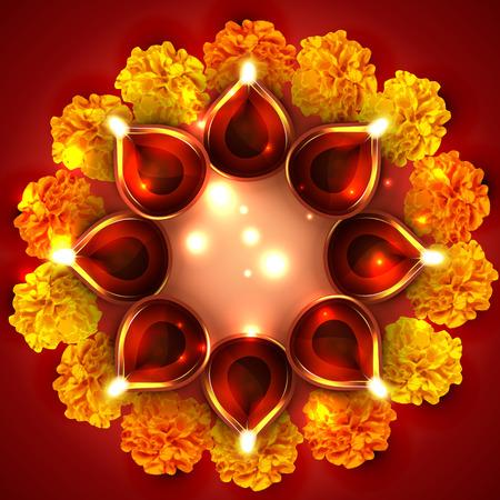 diwali background: Vector background of diwali diya with flowers