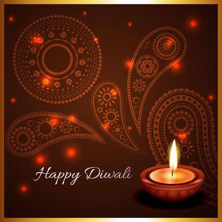 Vector artistic background of diwali diya Vector