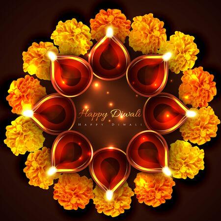 Vector hindu festival background of diwali Vector