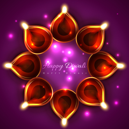 Vector shiny background of diwali diya Vector