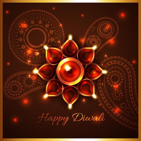 Vector hindu festival background of diwali