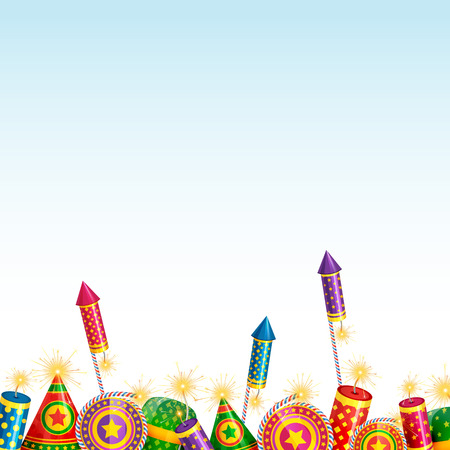 Vector beautiful background of diwali with crackers Vector