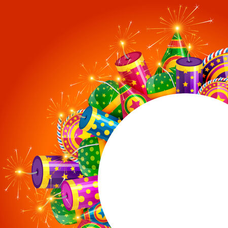 Vector diwali crackers with space for your text Vector
