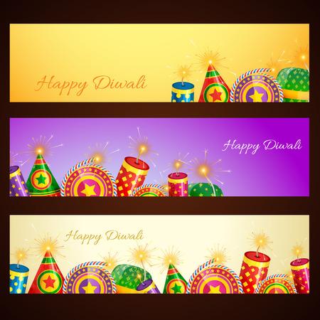 Vector diwali banner with cracker Vector