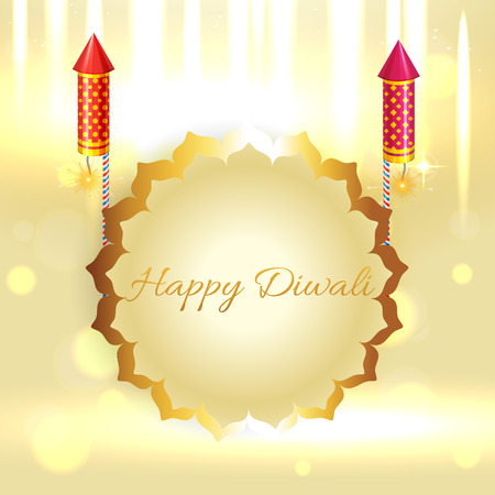 Vector beautiful background of diwali with crackers
