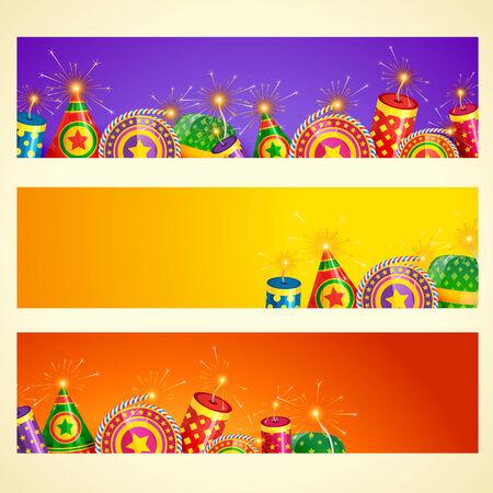 Vector diwali banner with crackers Vector