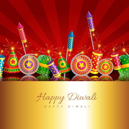 Vector creative design of diwali with crackers Vector