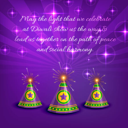 cracker: Vector stylish card of diwali with crackers