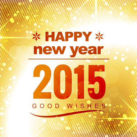 happy new year good wishes in golden shiny background with stars and circles Vector