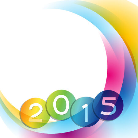 fifteen: 2015 with colorful wave going behind the text